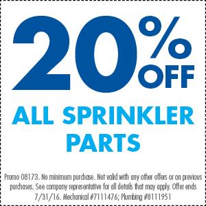 20% Off ALL Sprinkler Parts